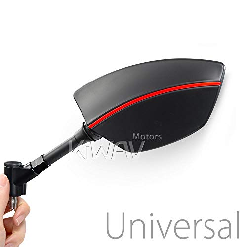 Redline Motorcycle Mirrors Black with Red Line Universal Convex Lens Wide View for 10mm Metric Bike (Custom Mirrors Motorcycle Stem)