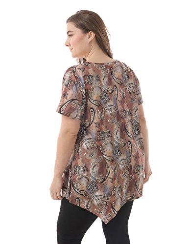 d502912f98bca6 ZERDOCEAN Women Plus Size Printed Short Sleeves Tunic Tops Flowy T Shirt