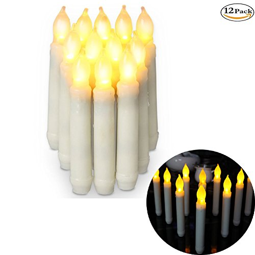 Set of 12 Flameless Candle Amber Yellow Ivory Mini Wax Dipped White Body Flickering LED Taper Candles Decorate for Indoor Party Wedding/Thanksgiving Day led candles battery operated wine candle