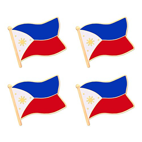 ALEY Philippines Filipino Flag Lapel Pin Decorations (4 Pack)