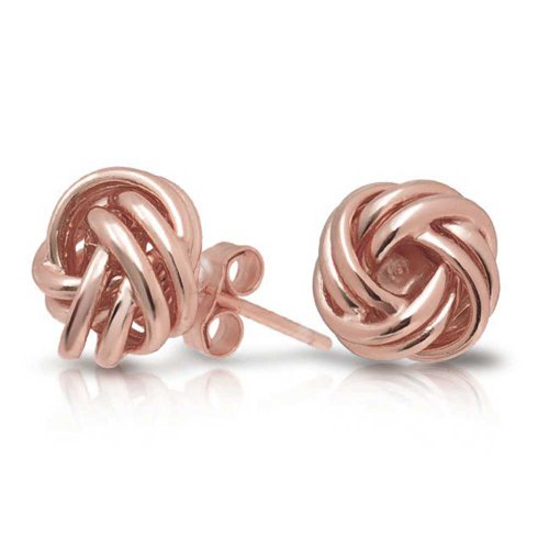 (Woven Twisted Rope Love Knot Stud Earrings For Women Rose Gold Plated 925 Sterling Silver)