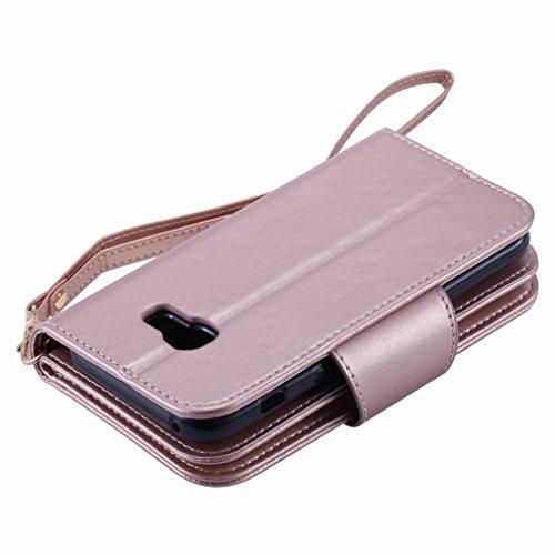 Yiizy Samsung Galaxy A3 (2017) / A320F/FL / A320Y Funda, Chica Repujado Diseño Solapa Flip Billetera Carcasa Tapa Estuches Premium PU Cuero Cover Cáscara Bumper Protector Slim Piel Shell Case Stand Ra