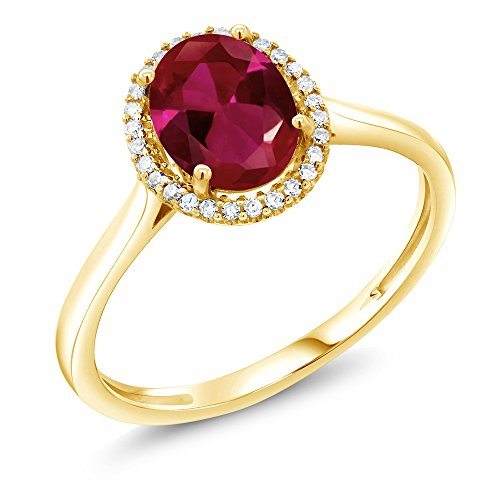 1.15 Ct Oval Red Created Ruby 10K Yellow Gold Diamond Ring (Size ()