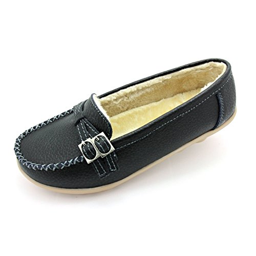 Women Leather Shoes Color Flats Slip On Loafers Black - 9