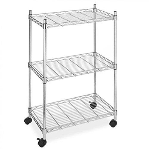 Shelving Wire Garage Rack Wide duty Heavy Meta Cart Unit 3 Shelves With Casters Wheels Chrome