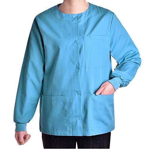 Pandamed Crew Round Neck Warm-up Jacket Top Medical Uniform Original Fit JK1801 (Niagara, XL)