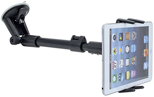 Car Mount, Premium Adjustable Arm Extension Windshield Tablet Car Mount for Apple iPad Mini Tablet, Apple iPhone 8 7 6S 6 Plus iPhone X Phones w/ Swivel Cradle Holder Mount (use with or without case)