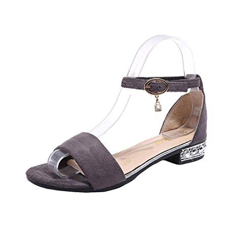 Muium Women Fashion Sandals, Ladies Fish Mouth Flat Sandals Open Toe Ankle Buckle Shoes Gray