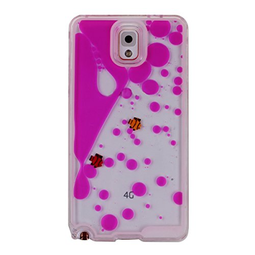 IKASEFU Case for Samsung Galaxy Note 3, Cover for Galaxy Note 3, Liquid Case for Samsung Note 3, Hard Case for Samsung Galaxy Note 3, Creative Design Funny Swimming Couple Fish Hard Plastic Transparent Case Cover for Samsung Galaxy Note 3 (Fish, Rose Red)