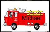 Personalized Friendly Folks Cartoon Side Slide Frame Gift: Fire Truck Great for future fireman, fire chief, children, room décor