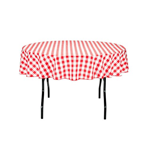 LinenTablecloth 70-Inch Round Polyester Tablecloth Red & White Checker -