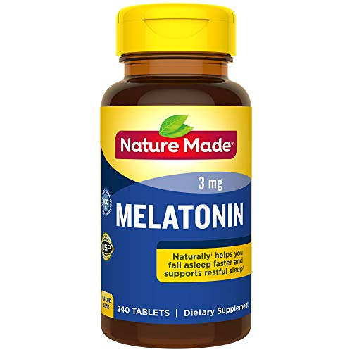 - Nature Made Melatonin 3 mg Tablets, 240 Count for Supporting Restful Sleep† (Packaging May Vary)