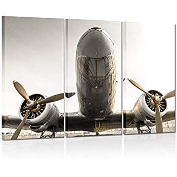 Kreative Arts - 3 Pieces Canvas Wall Art Plane with Propeller Poster Picture Print Modern Home Decor Stretched and Framed Ready to Hang 16x32inchx3pcs
