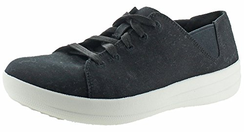 FitFlop Women's F-Sporty Canvas Lace Up Sneaker,Black Canvas,US 7.5 M (Sporty Canvas)
