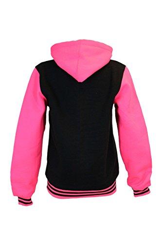 Veste Capuche Manches Hooded Rose À Mesdames Néon Varsity Baseball Fluorescent Noir Sweat Avec P44awEnq
