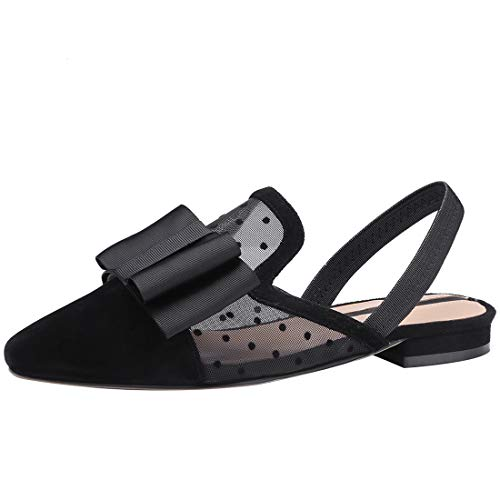 Women Slides Loafers Mule Casual Backless Slip Mesh Flats for Black Leather Eithy Shoes On CwRtqUxYU7