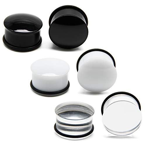 Briana Williams Single Flare Acrylic Ear Plugs Tunnel Expander Ear Gauges with O-Ring & Clear Black White Flesh Ear Tunnels Screw Ear Stretcher Earring Lobe Piercing 8mm Gauge
