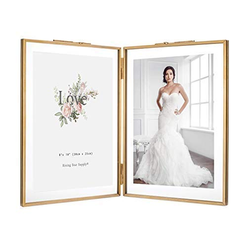 Rising Star Double 8x10 Folding Picture Frames, Gold Metal Pressed Glass Photo Frame - Frame Wedding Picture Glass
