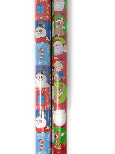 Christmas Wrapping Holiday Paper Gift Greetings 2 Rolls Design Festive (1) Santa Red Nose Reindeer & (1) Frosty the Snowman Square
