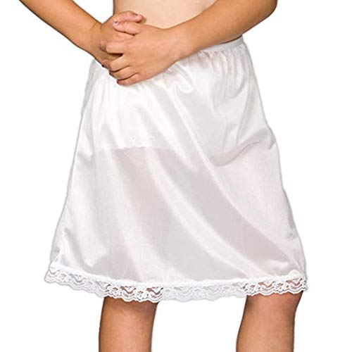 I.C. Collections Little Girls White Simple Empire Waist Slip, 4 -