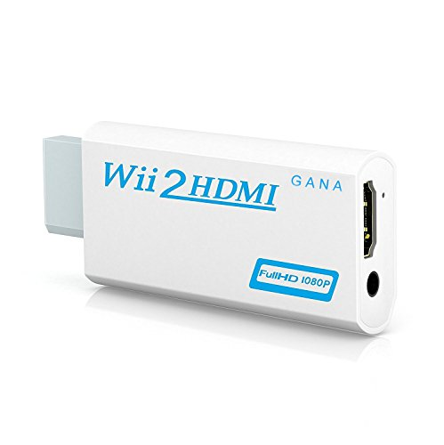 Wii to hdmi Converter, Gana wii to hdmi Adapter, wii to hdmi1080p 720p Connector Output Video & 3.5mm Audio - Supports All Wii Display Modes (Hd Adapter For Tv Multi Connector)