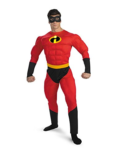 Disguise Unisex Adult Deluxe Muscle Mr Incredible, Multi, X-Large (42-46) Costume -