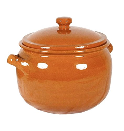 Peregrino Classic Terra Cotta Olla Stew Pot or Storage Jar with Lid - 192 oz / 1.2 gal