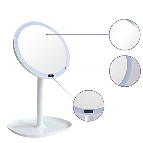 Carejoy Lighted Makeup Mirror 5X Magnifying Motion Sensor Mirror with 30pcs leds Rechargeable 360 Degree Rotation Infrared Induction Vanity Mirror Gifts