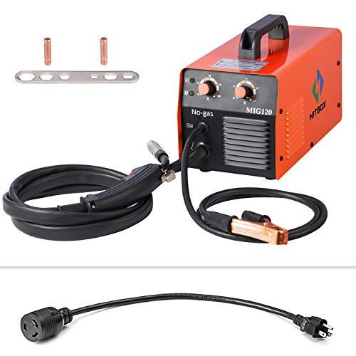 (HITBOX MIG Welder 120AMP 110/220V DC Dual Volt Mini IGBT Inverter Gasless MIG Welding Machine)