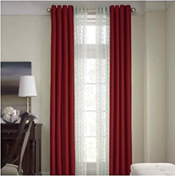 Red Curtains amazon red curtains : Amazon.com: Royal Velvet® Plaza Grommet-Top Lined Blackout Curtain ...