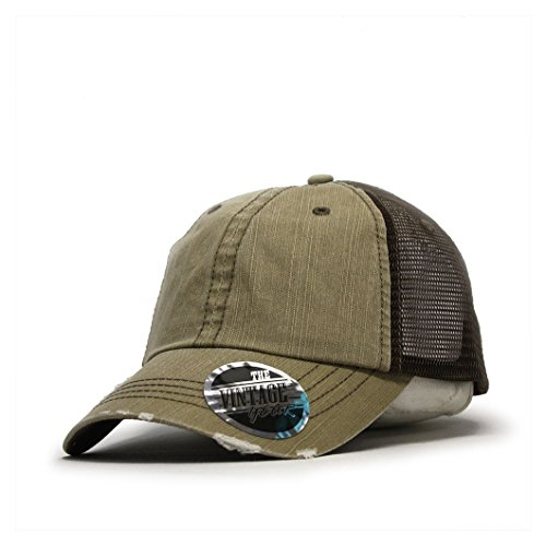 (Washed Cotton Low Profile Mesh Adjustable Trucker Baseball Cap (Distressed)