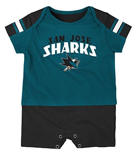 Outerstuff NHL San Jose Sharks Boys Newborn & Infant Little Brawler Jersey Romper, Shark Teal, 24 Months ()
