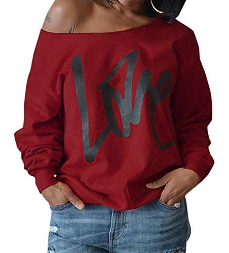 Femmes Shirts T et Shirts Printemps Fashion Sweat Oblique Blouse Hauts Manches paule Longues Lettre Automne Casual Simple Pulls Tops Pullover Impression Jumpers Fashion Lache Jujube nxqYPEwAvI