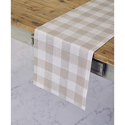 Solino Home 100% Pure Linen Buffalo Check Table Runner - 14 x 60 Inch Natural & White Checks Table Runner Natural Fabric Handcrafted from European Flax ()