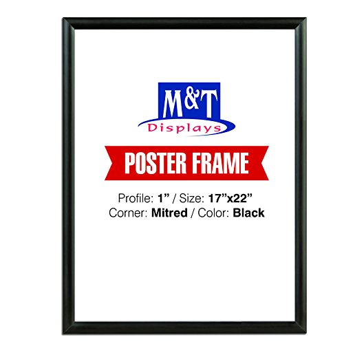 M&T Displays Black 17x22 Poster Frame 1 inch Aluminum Profile Front Loading Wall Mounting Snap Frame Display for Picture, Document or Certificate with Mitred Corner