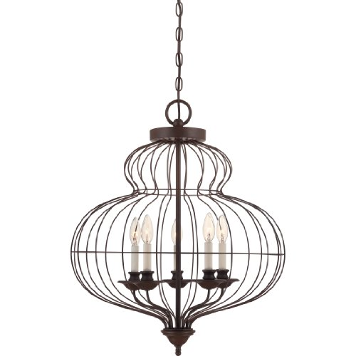 Quoizel LLA5205RA Laila 5-Light Foyer Piece, Rustic Antique Bronze