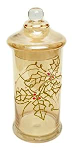 Best Quality Tall Amber Holiday Glass Jar with Lid Candle Holder Christmas Home Room Decor