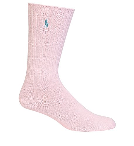 Polo Ralph Lauren Men's Classic Crew Socks with Pony Logo (10-13, Soft Pink/Blue Pony) ()