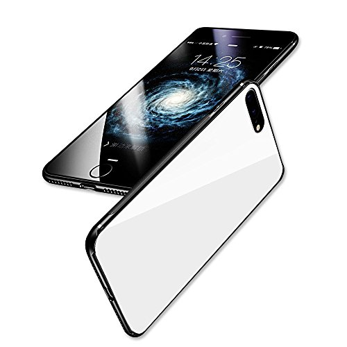 HyRich Super iPhone 8/7 plus Magnetic Holder Case,Tempered Glass Anti-Scratch Anti-Drop Back Cover + TPU Frame Hybrid Perfect Fit Shell Slim Case For iPhone 8/7 plus (Iphone 8/7 plus - White) - Hardback Cover Case