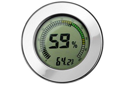 Digital Mountable Hygrometer w/ Calibration for Cigar Humidors - Color Silver