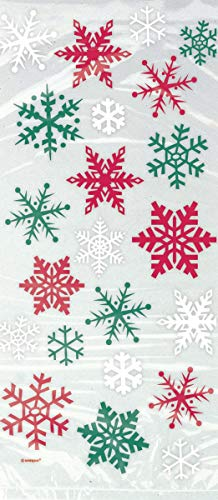 Red & Green Snowflake Holiday Cellophane Bags, - Red Snowflake Holiday