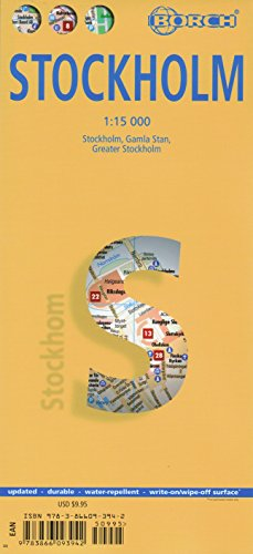 Laminated Stockholm Map (French, Italian, German, English and Spanish Edition)