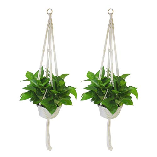 Hipatoo Classic Macrame Plant Hanger for Hanging Holder Flower Baskets Pot, Cotton Rope Hanging Planter, Indoor Outdoor Patio Decor(2 Pack)