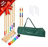 9. Lawn Croquet Set for Kids & Families - Six Player Croquet Game with 6 Mallets, 6 Balls, 9 Wickets, 2 Stakes & Carry Bag
