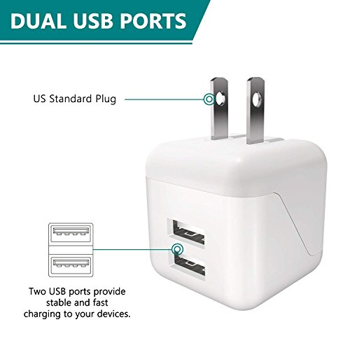 USB Wall Charger, 5V/2.1A Dual USB Wall Charger Fast Charger Portable Travel Charger with Foldable Plug for iPhone X/8/7/6s/6 Plus, iPad Pro/Air 2/mini 4, Galaxy S9/S8/S7 and More (2Pack) by walltronics (Image #2)
