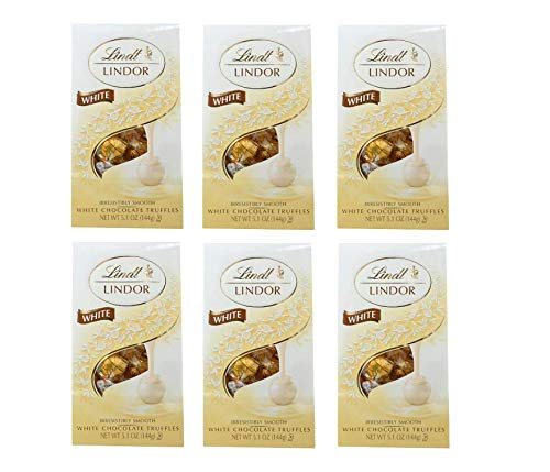 Lindt Lindor White Chocolate Truffle, 5.1 Ounce Bags (Pack of 2) (Pack of 6)