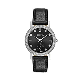 Bulova Women's 32mm Crystal Black Leather Strap Watch