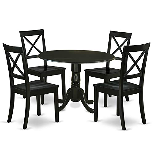 """DLBO5-BLK-W 5Pc Rounded 42"""" Table With Two 9-Inch Drop Leaves And Four Wood Seat Dining Chairs"""