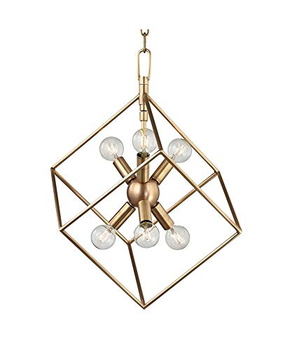(Hudson Valley Lighting 1215-AGB Six Light Pendant from The Roundout Collection, 6, Aged Brass Finish)