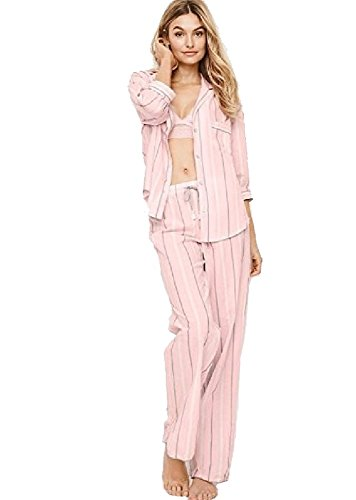 (Victoria's Secret The Flannel PJ Pajama Sleepwear Set (Pink and White Stripe,)